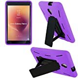 Shockproof Heavy Duty Dual Protection Hybrid Case Cover by KIQ for Samsung Galaxy Tab A 8.0 2017 A2 A2S [ SM-T380 ] [ SM-T385] (Black/Purple)