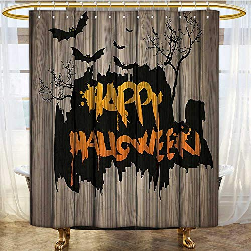 (Mikihome Shower Curtains Fabric Halloween Style Lettering on Fence Scary Evil Effect Art Bathroom Decor Set with Hooks W72 x H72)