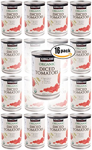 Kirkland Signature Organic Diced Tomatoes, 14.5 oz Jar (Pack of 16, Total of 232 Oz)