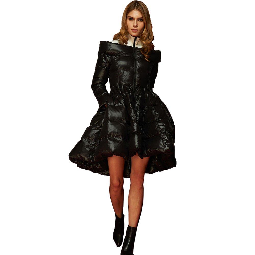 Jsix Women's Long Down Jacket Winter Coat Outdoor Black