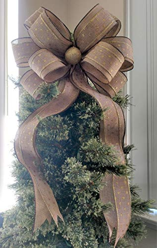 Burlap and Gold Christmas Bow - Christmas Tree Topper Bow -...