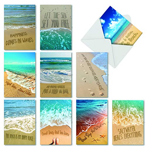 Life's a Beach - 10 Sea Side All Occasion Greeting Cards with Envelopes (4.63 x 6.75 Inch) - Ocean View & Waves, Boxed Blank Note Cards - Assorted Stationery Set AC6328OCB-B1x10