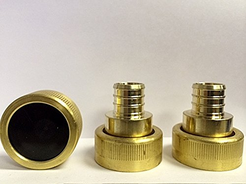 "3 Piece Viega Supply Adapter Combo Kit - (2) Viega 46414 PureFlow Zero Lead Brass PEX Crimp Supply Adapter 3/4-Inch by 1 Crimp x Manabloc Supply + (1) Viega 53601 1"" FIP End Cap"