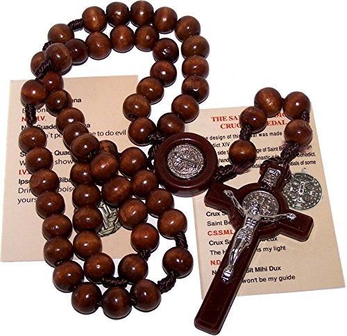 "ST Benedict Rosary Necklace Medal 17"" NR Brown Wood Beads From Holy Land BIG"
