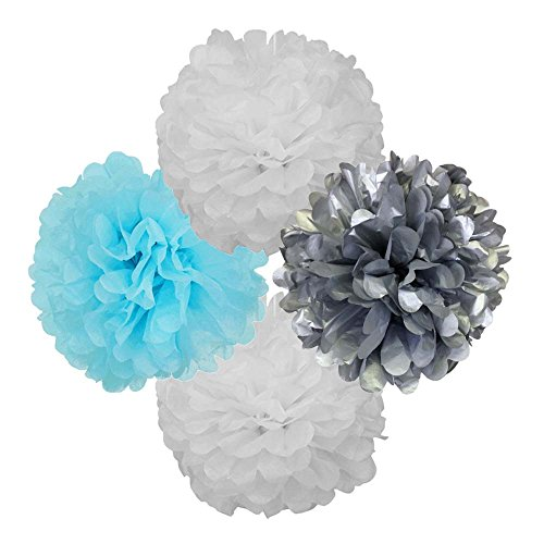 Just Artifacts Assorted Tissue Paper Pom Pom Balls (4pcs) - Size: 14inch - Color: White, Baby Blue, Silver - Decorations for Birthdays, Baby Showers, Weddings and More!