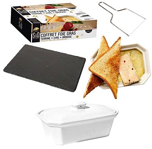 Set: Pastetenform für Foie gras, Keramik, Schiefer, Schneidegerät, Edelstahl