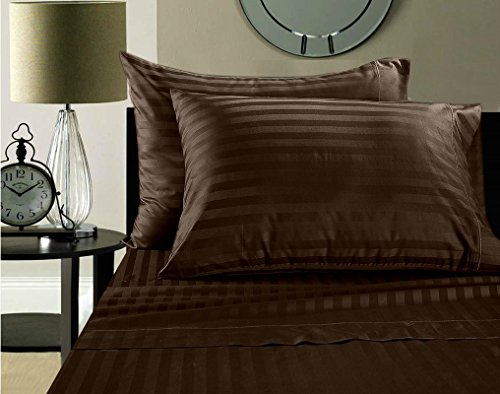 (Fab Linens Luxury 100% Egyptian Cotton 500 Thread Count Damask Stripe Sheet Set Queen Chocolate)