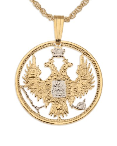 Russian Coin Pendant & Necklace, Russian 20 Kopecs Hand Cut - Cut Necklace Coin