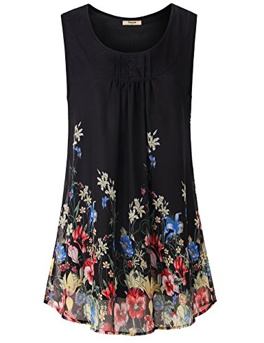 Chiffon Floral Tunic - Timeson Womens Summer Tunics, Women's Chiffon Tunics to wear with Leggings Sleeveless Floral Blouses Shirt Casual Pleated Front Button Dressy Tank Tops for Business Work Black Red X-Large
