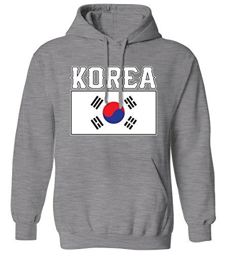 Bold Korea Flag Lettering -Korean DPRK National Pride Mens Hoodie Sweatshirt (Athletic Gray, X-Large)
