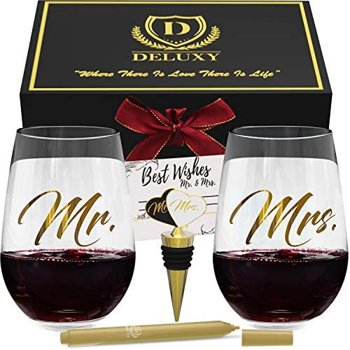 DELUXY Mr and Mrs Wine Glasses - Perfect Bridal Shower, Wedding, Engagement - Wine Stopper, Glass Marker & Card Included