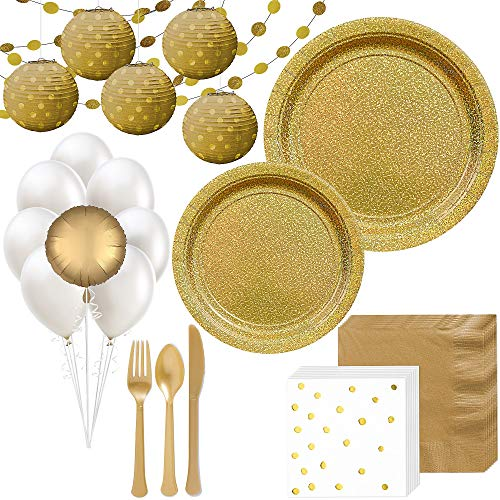 Party City Prismatic Gold Deluxe Party Kit for 16 Guests, 175 Pieces, Includes Tableware, Balloons, and -