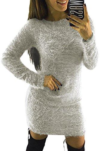 Mini Invierno Imitacion Parte La Mohair De Lápiz Elegante Mujer Pullover Vestido Lightgrey qgT8wIwRA5