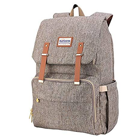Brown Large Capacity Waterproof Changing Bag Multi-Function Stylish for Mummy Dad Outdoor//Travel//Work Insulated Pockets with Free Changing Pad SUNVENO Diaper Bag Nappy Backpack