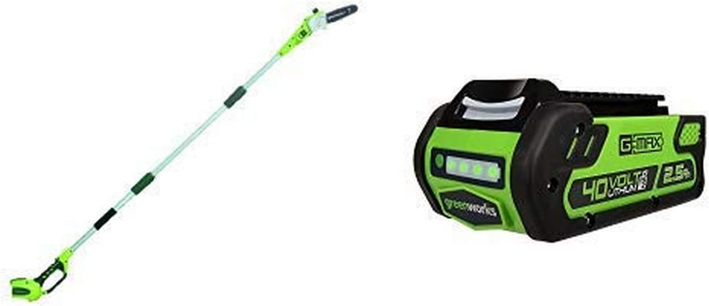 Greenworks 8' 40V Cordless Pole Saw, Battery Not Included 20302 with 40V 2.5 AH Lithium Ion Battery 2901319