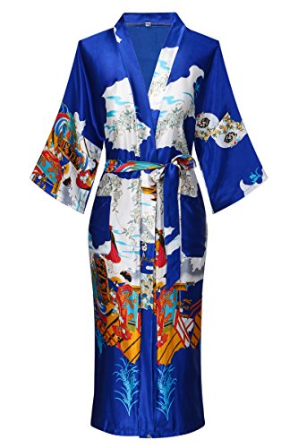 Dandychic Women's Kimono Robes Pagoda Print Kimono Imitation Silk Long Style Large Royal ()