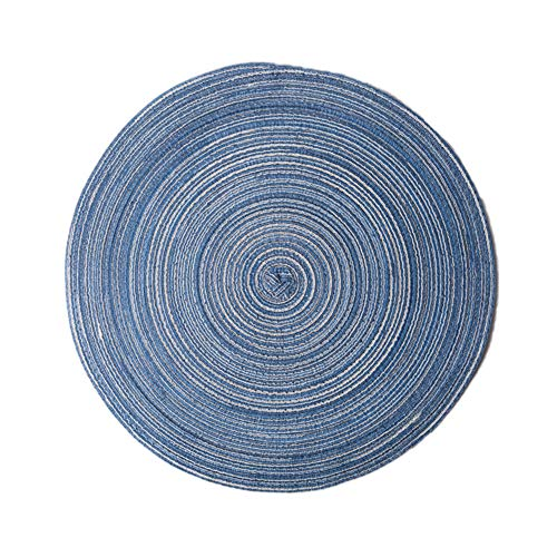 lightclub Round Cotton Yarn Weaving Heat Insulated Cup Pot Mat Placemat Dining Table Decor Blue Round 36cm (Black Placemats Slate)