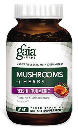 Natures Herbs Reishi Mushroom (Gaia Herbs Mushrooms + Herbs + Reishi Tumeric Capsules, 60 Count)