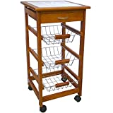 Chef Vida 3 Tier Kitchen Trolley, Wood, Brown by Chef Vida