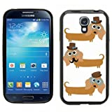 Samsung Galaxy S4 SIIII Black Rubber Silicone Case - Pug Dog in Top hat, Hipster Pug