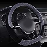 Rayauto Soft Short Warm Plush Quilting Embroidered Anti-Skid D Type Car Steering Wheel Cover (D Shape-Grey)