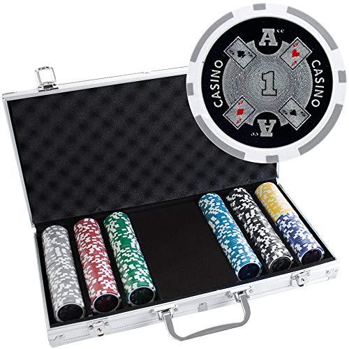 300 Ct Ace Casino 14 Gram Clay Poker Chip Set w/Aluminum Case