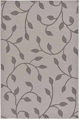 Unique Loom Outdoor Botanical Collection Floral Vines Transitional Indoor and Outdoor Flatweave Gray  Area Rug (5' 3 x 8' 0)
