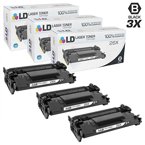 LD © Compatible Replacements for HP 26X / CF226X Set of 3 High Yield Black Laser Toner Cartridges for LaserJet Pro Printers: M402dn, M402dw, M402n, MFP M426fdn, MFP M426fdw