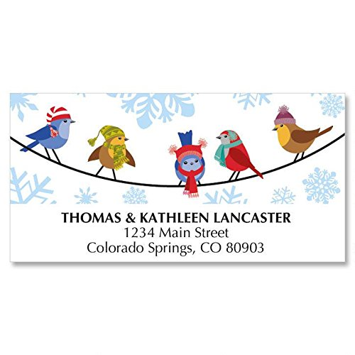 Snowflakes & Birds Personalized Christmas Address Labels - Set of 48, self-stick