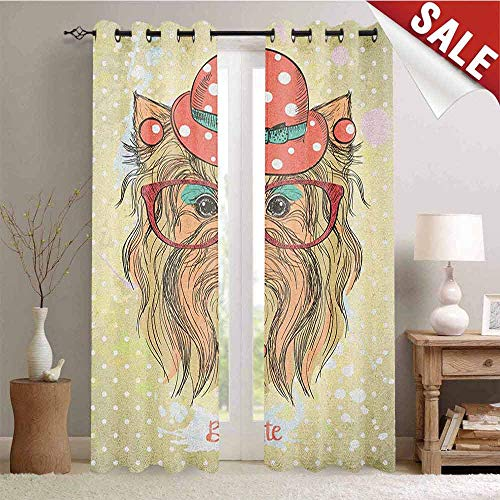 Flyerer Yorkie, Window Curtain Drape, Be Cute Portrait of an Adorable Dog with Earrings Necklace Glasses Hat Makeup, Customized Curtains, W108 x L96 Inch Pale Brown Coral