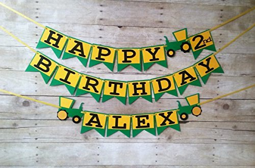 Tractor Birthday Banner   Party Supplies   Party Banners   Decorations   Personalized   John Deere