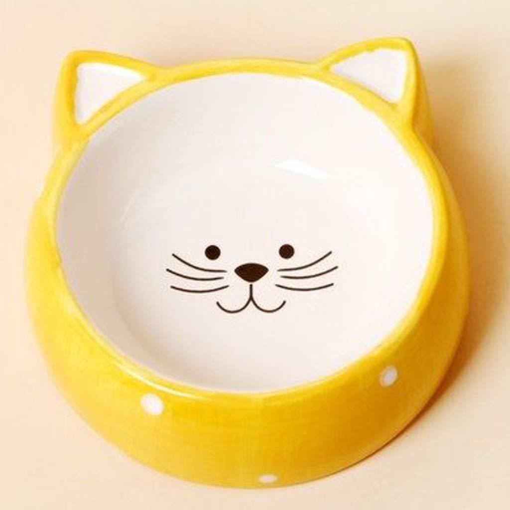 CXQ Dog Bowl Cat Bowl Creative Cute Wave Point Cat Ceramic Bowl Cat Food Dog Food Bowl Yellow Pet Supplies
