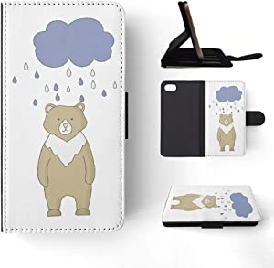Foxercases Design (2020) Bear and Raindrops Flip Wallet Phone Case Cover for Apple iPhone 7/8 / SE (2020)