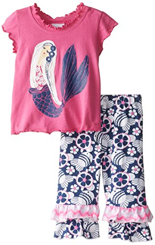 Flap Happy Baby Girls' Lettuce Edge Tee and Double Ruffle Capris Set, Mermaid Bliss, 18 Months