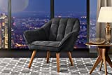 Small Accent Chairs Accent Chair for Living Room, Linen Arm Chair with Tufted Detailing and Natural Wooden Legs (Dark Grey)