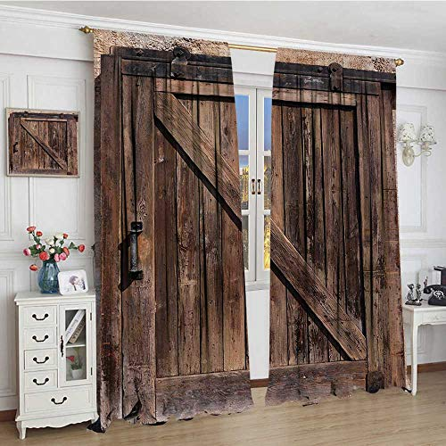 youpinnong Rustic Room Darkening Wide Curtains Aged Wooden Sliding Barn Door with Vintage Texture Architectural Farm House Print Drapes for Living Room 108