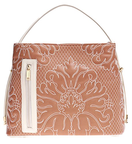 Samoe Style Sandy Brown and Cream Stitched Damask Convertible Tote by Samoe Style