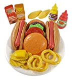 Burger & Hot Dog Fast Food Cooking Play Set for Kids with Chips and Onion Rings