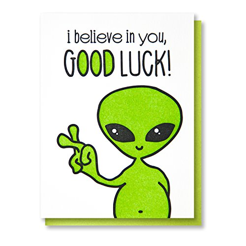 Funny Good Luck Letterpress Card | Alien | Crossing Fingers | kiss and punch