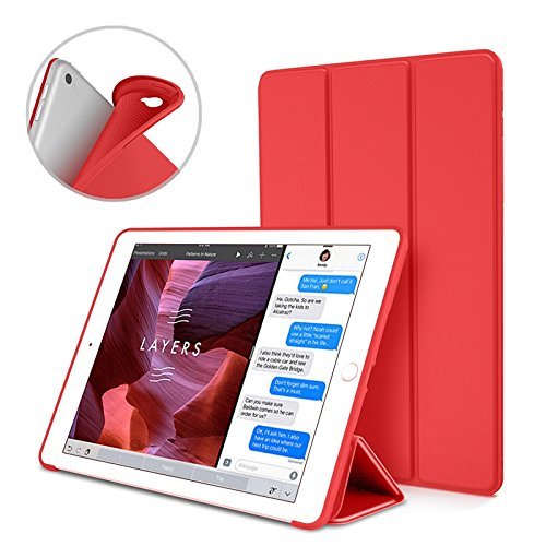 S-Tech iPad 2/3 / 4 Generation Smart Case Soft Silicone Cover Tablet Tri Fold Stand with Magnetic Smart Sleep/Wake Feature for Apple iPad Model (Red)