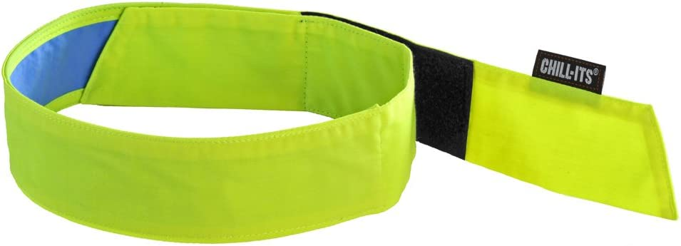 Ergodyne Chill Its 6705CT Cooling Bandana, Lined with Evaporative PVA Material for Fast Cooling Relief, Quick and Secure Fit, Lime