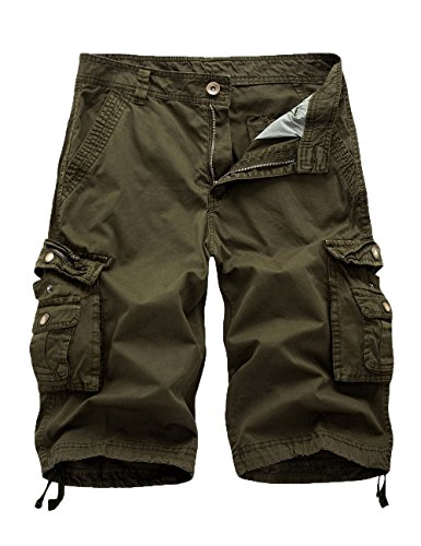 Women's Cotton Loose Fit Zipper Multi-Pockets Twill Bermuda Drawstring Cargo Shorts Green US 10
