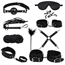 Yohami 10 Pcs/set Restraints Bondage Fetish Kit Sex Handcuffs Nipple Clamp Whip Mouth Gag Leather Blindfold Eyepatch Set for Adult Games