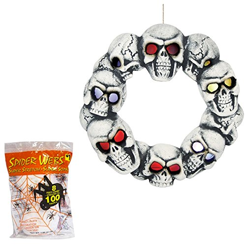 Halloween Wreath Animated LED Lighted Skull Prop with Spider Webbing Decoration 14 Inches