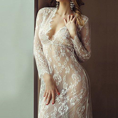 Perspectiva sexy de mujer de para Vestido Blanco de Camisón niñas noche hibote dormir sexy para de Vestido Lencería encaje Pijamas tentación q8nggUwIS