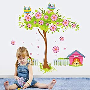 DIY Removable Wall Stickers For Children room Home Decor -Flower dog