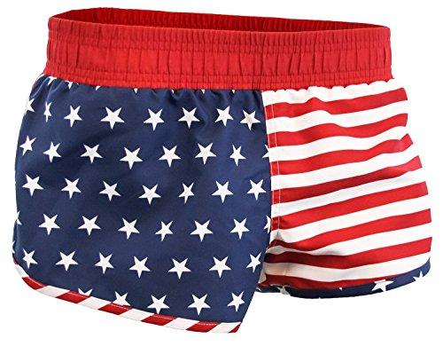 American Flag Women's Printed Board Shorts - Shorts America Womens