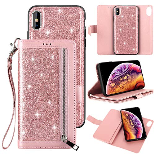 Petocase Compatible iPhone Xs Max Wallet Case,Luxury Bling Classy Leather Folio Flip Wristlet Shockproof Protective ID Credit Card Slots Holder Carrying Cover for Apple iPhone Xs Max -Rose Gold