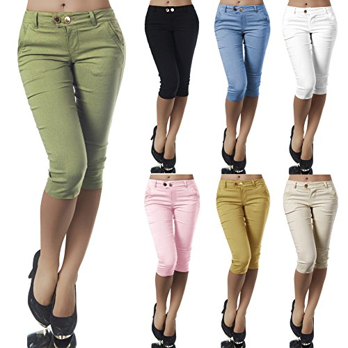 Shorts Sarouel Confortable Yoga 3 Mode Skinny Minetom Femme Boutons Pants 4 Vert Sport Legging Courts Eté Pantacourt Casual Pantalons Fitness CCwS0Oq