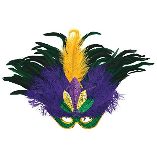 Amscan 360054 Feather and Sequin Deluxe Masquerade Mask Mardi Gras Costume Accessory Party Supplies, 1 piece, - Mardi Gras Mask 18 Inch
